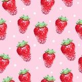 Aléatoirement fond mignon sans couture avec des fraises Images stock