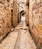 Aléia antiga no quarto judaico, Jerusalem Imagem de Stock