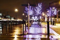 Aléia iluminada azul na noite na cidade foto de stock royalty free