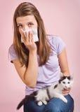 Alérgico al gato Imagen de archivo libre de regalías
