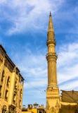Al侯赛因清真寺的尖塔在开罗 免版税库存图片