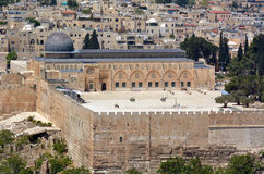 Al圣殿山的Aqsa清真寺鸟瞰图在耶路撒冷, Isra 免版税库存图片