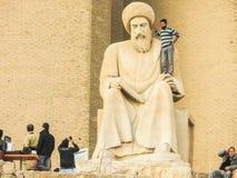 Al在街市阿尔贝拉- Hawler的Mustewfi雕象 免版税库存照片