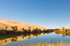 Al沙漠湖利比亚ma绿洲撒哈拉大沙漠umm 库存照片