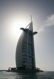 Al阿拉伯burj旅馆剪影 库存图片