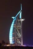 Al阿拉伯burj旅馆晚上 库存图片