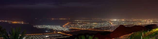 Al Ain View la nuit de Jebal Hafeet Jebel Hafit photos stock