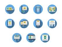Al aire libre publicidad de iconos planos redondos de los sitios ilustración del vector