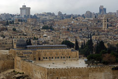 Al Aksa Mosque from Mount of Olives, Jerusalem, Israel Royalty Free Stock Photos