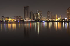 The Al and Al Noor Madzhaz on the coast Khalid Lagoon. Sharjah. United Arab Emirates. Stock Images