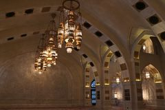Chandeliers lighten up in the women praying hall royalty free stock image