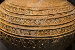 Al-Andalus earthnware jar decorated with intrincate patterns royalty free stock images