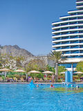 Al aqah海滩旅馆le meridien 库存照片