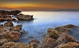 Al Aqqah海滩在富查伊拉 免版税库存照片