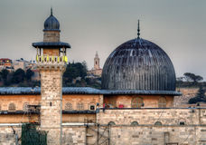 Al Aqsa. Mosque, the third holiest site in Islam, with Mount of Olives in the background in Jerusalem, Israel Royalty Free Stock Photography
