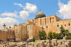 Al-Aqsa dome and old ruins in Jerusalem, Israel. Dome of Al-Aqsa Mosque surrounded by walls and ancient ruins in Old City of Jerusalem, Israel Stock Image