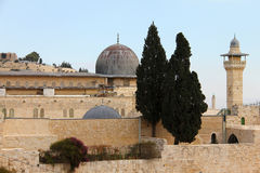 Al Aqsa and   minaret Royalty Free Stock Photo