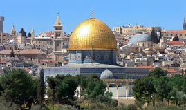 Al Aqsa Mosque. View of the golden Dome of the Rock of Al Aqsa Mosque from the Mount of Olives.Jerusalem, Israel Stock Image