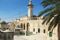 Al Aqsa Mosque-Ansicht von der Außenseite an einem hellen Tag in Jerusalem, Israel lizenzfreies stockfoto