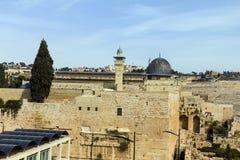 Al Aqsa Mosque, der dritte heiligste Standort im Islam, mit dem Ölberg im Hintergrund in Jerusalem, Israel Lizenzfreies Stockbild