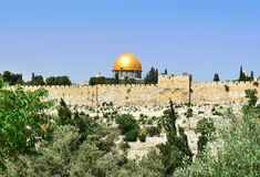 Al-Aqsa Mosque and golden Dome of the Rock, Jerusalem Stock Photos