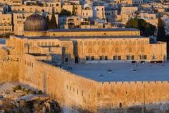 Al Aqsa Mosque in Jerusalem city. View of Al Aqsa Mosque in Jerusalem at sunrise time Stock Photo