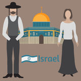 Al-Aqsa Mosque in Jerusalem, Israel. Dome of the rock. Religios architecture. Orthodox jew, man and woman. Al-Aqsa Mosque in Jerusalem, Israel. Dome of the rock stock illustration