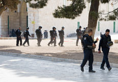 Al-aqsa mosque. JERUSALEM, ISRAEL - OCT 08: Israeli police officers in front of the Al-aqsa mosque on the temple-square in Jerusalem after religious fightings Stock Photography