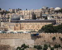 Al-Aqsa Mosque from Mount of Olives, Israel Royalty Free Stock Image