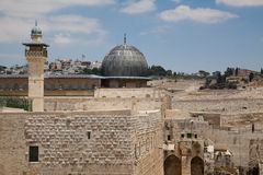 Al-Aqsa Mosque. In the old city of Jerusalem as viewed from the rooftops of the Jewish Quarter Stock Image