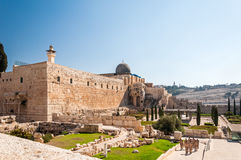 Al-Aqsa Mosque of Omar view western wall in Jerusalem Royalty Free Stock Image