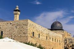 Al Aqsa Mosque på tredje plats mest holiest plats i islam på tempelmonteringen på den gamla staden jerusalem fotografering för bildbyråer