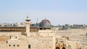 Al-Aqsa Mosque on the Temple Mount in Jerusalem, Old City, Israel. Viiew to Mount of Olives stock image