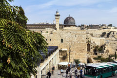 Al Aqsa Mosque, the third holiest site in Islam, with Mount of Olives in the background in Jerusalem, Royalty Free Stock Images