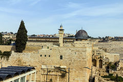 Al Aqsa Mosque, the third holiest site in Islam, with Mount of Olives in the background in Jerusalem, Israel. Royalty Free Stock Image