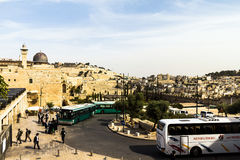 Al Aqsa Mosque, the third holiest site in Islam, with Mount of Olives in the background in Jerusalem Stock Photos