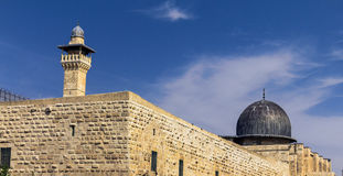 Al Aqsa Mosque,  third holiest site in Islam on  Temple Mount at the Old City .  Jerusalem Royalty Free Stock Photography