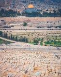 Al-Aqsamoské och den gamla judiska kyrkogården Royaltyfri Fotografi