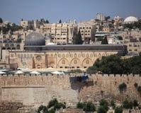 Al-Aqsamoské från Mount of Olives, Israel Royaltyfri Bild