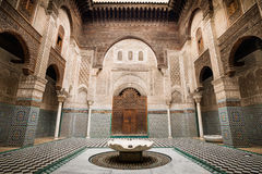 Al-Attarine Madrasa in Fes Morocco. Beautiful architecture of school in Fes old town, Morocco Stock Images