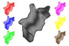 Al Bahah Region Regions de Arábia Saudita, reino de Arábia Saudita, ilustração do vetor do mapa de KSA, região do al-Bahah do esb ilustração royalty free