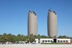 Al Bahr Towers in the city of Abu Dhabi Stock Images