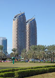 Al Bahr Towers in the city of Abu Dhabi Stock Image