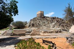 Al Bidiyah Fort no emirado de Fujairah nos UAE imagens de stock royalty free