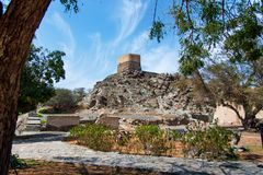 Al Bidiyah fort w emiracie Fujairah w UAE obraz royalty free