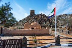 Al Bidya dziejowy meczet i fort w emiracie Fujairah w UAE fotografia stock