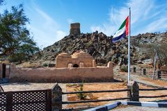 Al Bidya historisk moské och fort i emiraten av Fujairah i UAE arkivbild