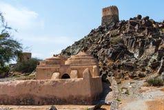 Al Bidya historisk moské och fort i emiraten av Fujairah i UAE fotografering för bildbyråer