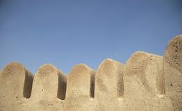 Al Bidya Mosque Wall. Wall turrets at Al Bidya Mosque, Fujairah, UAE Royalty Free Stock Photo
