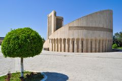 Al Bukhari-het gedenkteken wordt gevestigd in het historische deel van Boukhara, Oezbekistan Vertaling: 'Imam al-Bukhari was gebo royalty-vrije stock fotografie